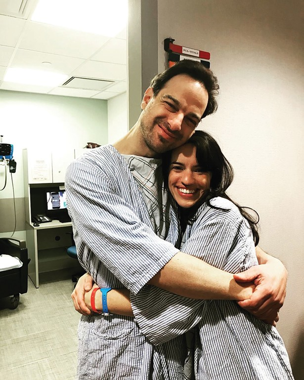 Ben Fleisher and Katy Matthews moments before surgery, Mt. Sinai Hospital, March 27, 2018.