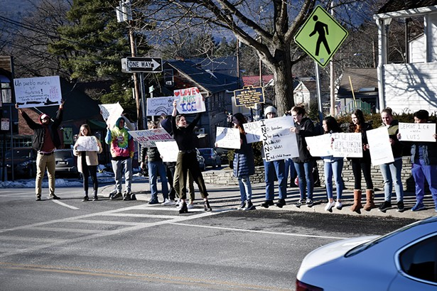 A rally in support of Luis Martinez on Main Street in New Paltz on February 16, 2019. - PHOTO BY MICHAEL FRANK.