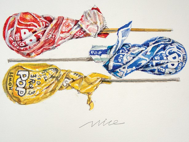 Tootsie Pops, a 2014 watercolor by Don Nice.
