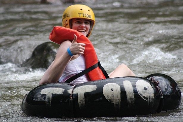 Tube Class II whitewater rapids at Town Tinker Tube Rentals.