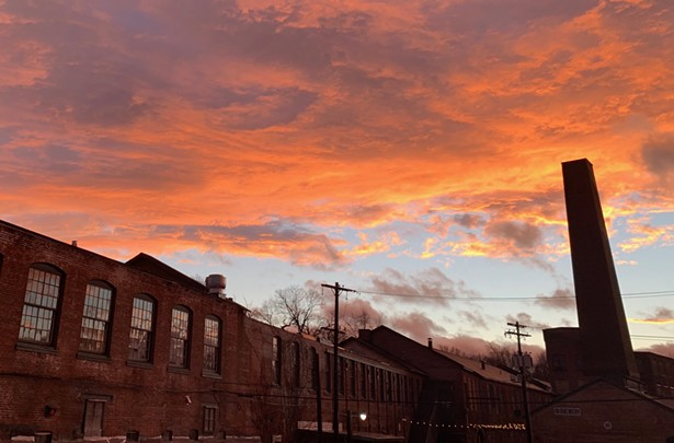 Industrial Arts Brewery at dusk