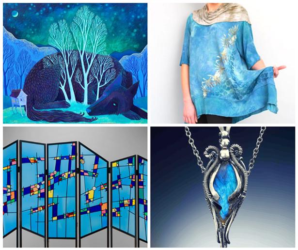 Clockwise from top left: Elaine Thompson Art, Heather Reid, Judith Hearney Jewelry, Glass Art of Brooklyn.