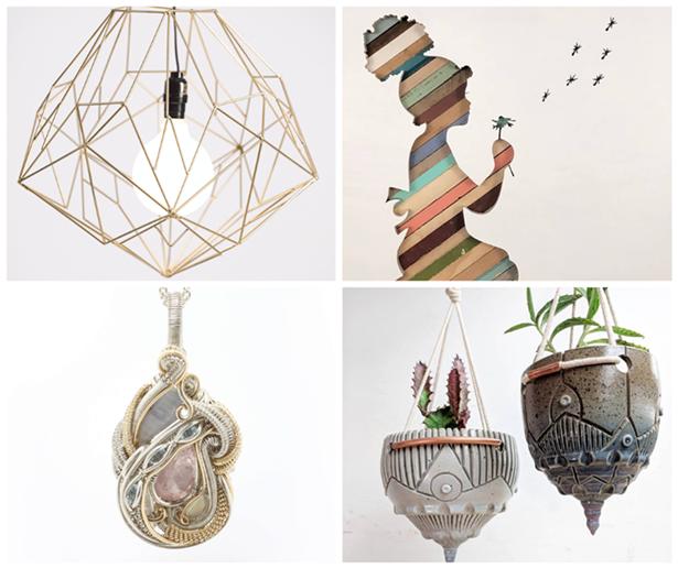 Clockwise from top left: Hedron Studio, Black Lab Fabrication, Round Trip Clayworks, Jennifer Jones Jewelry.