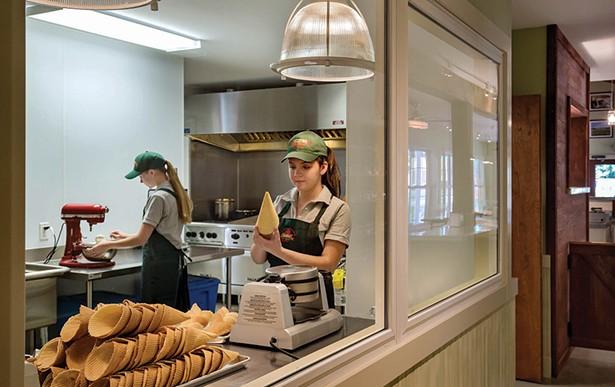 Above: Waffle cones are made fresh daily at Zoe's Ice Cream Barn. - PHOTO: ROB KAROSIS
