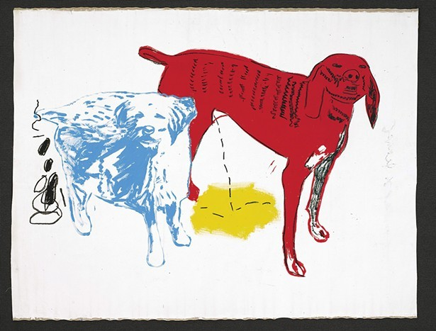 Jean-Michel Basquiat and Andy Warhol, Untitled (Two Dogs), acrylic and silkscreen ink on canvas, 1984. © 2019 The Andy Warhol Foundation for the Visual Arts, Inc. / Licensed by Artists Rights Society (ARS), New York © The Estate of Jean-Michel Basquiat / ADAGP, - Paris / ARS, New York 2019.