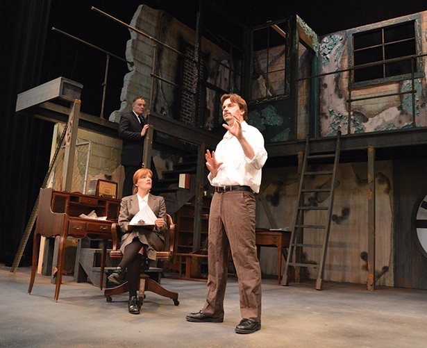 """Clockwise from top left: Sean Cullen, Ben Paul Williams, and Kathy McCafferty, in rehersal for """"Memoirs of a Forgotten Man"""" running June 1-16 at Shadowland Stages in Ellenville."""