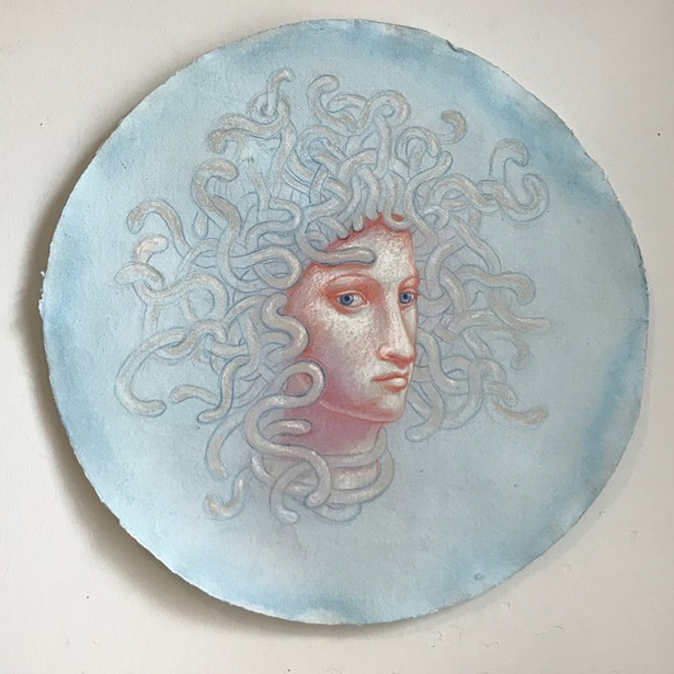 Kahn & Selesnick, Medusa, pastel and conte crayon on Arches paper, 22 inch diameter - IMAGE COURTESY OF ARTISTS