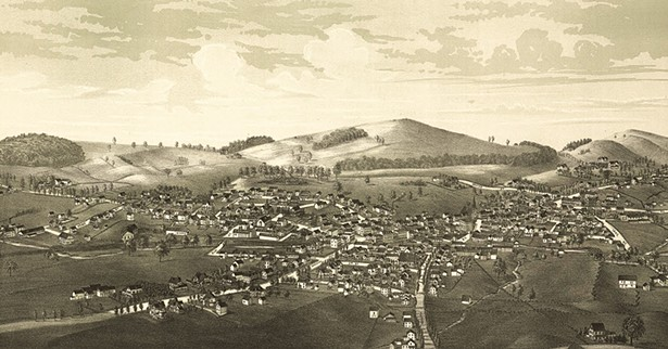 Perspective map of Warwick from 1887.