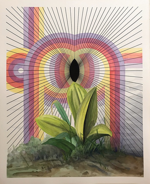 Jon Cowan, Radiant Void, watercolor, gouache and ink on paper, 2019.