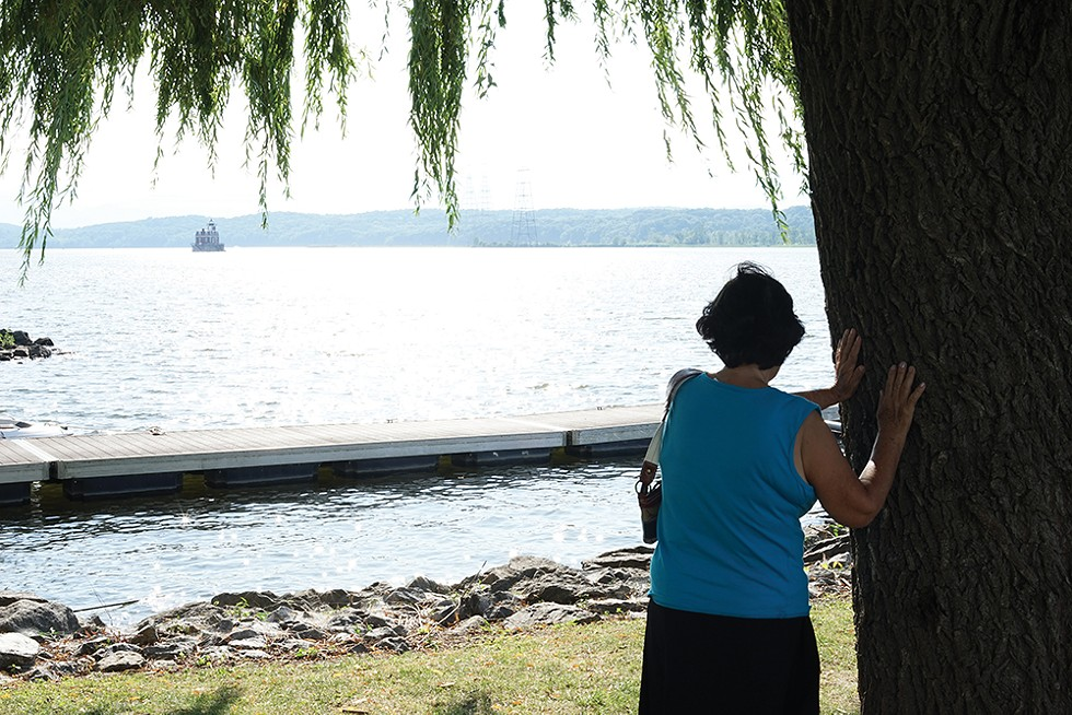 Tree worship on the Hudson waterfront. - PHOTO: JOHN GARAY