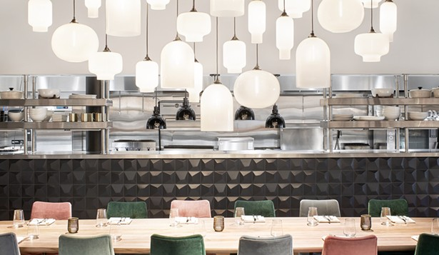 """Niche handmade pendant lights featured in the new Crate & Barrel restaurant """"The Table at Crate"""" - PHOTO COURTESY OF CRATE & BARREL"""