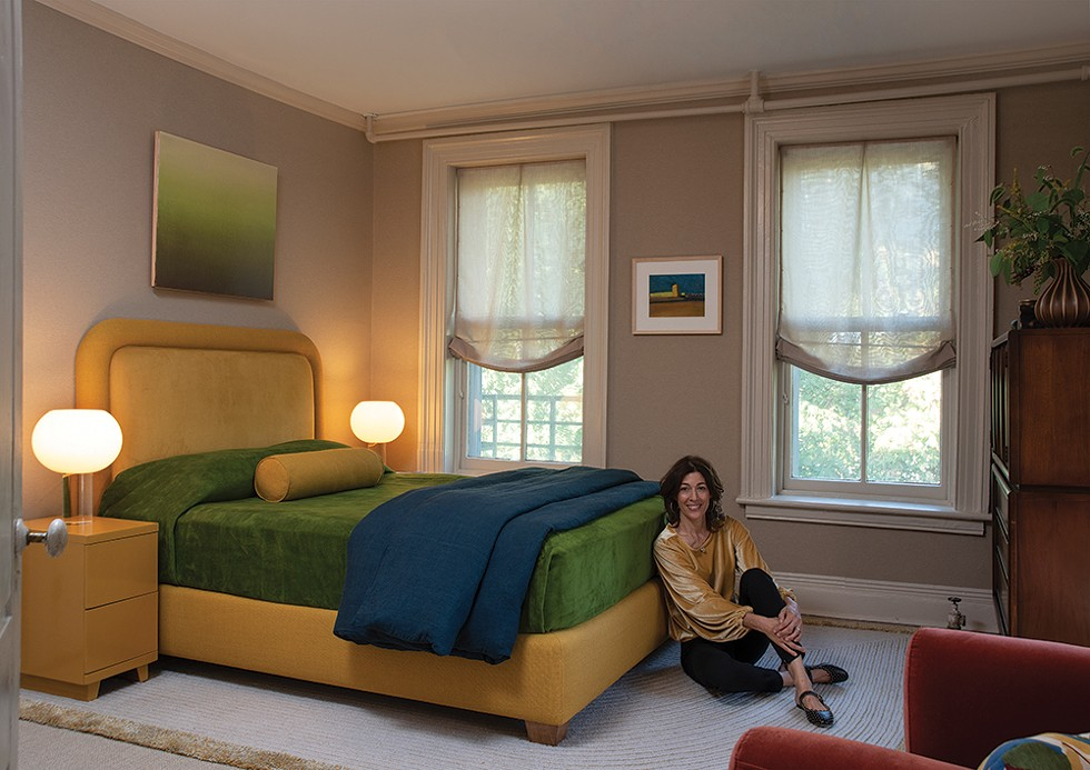 "Heidi Feiwel, HF Interiors. The fall foliage-inspired bedroom. More than anything else, Fiewel relies on a close study of the natural world to inform her design projects. ""The daily observation of my surroundings has built in me the capacity to discern, and hopefully, be a better designer,"" she explains. Participating in the showhouse was a challenge but she ""found support in unexpected places."" She adds, ""The showhouse helped me see that there is nothing to fear in failure: It teaches us that there is always a solution to every problem. This philosophy has increased my confidence tremendously."" -  -  Art Credit: Margaret G. Still (@mgstill4 on Instagram): ""Yellow Tower 3."" - PHOTO: DEBORAH DEGRAFFENREID"