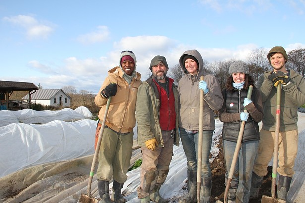 From left to right: Vegetable Apprentice Kione McAulay, Vegetable Production Manager Jarret Nelson, and Apprentices Christina Miller, Lauren Thorpe and Mikhail Pozin.