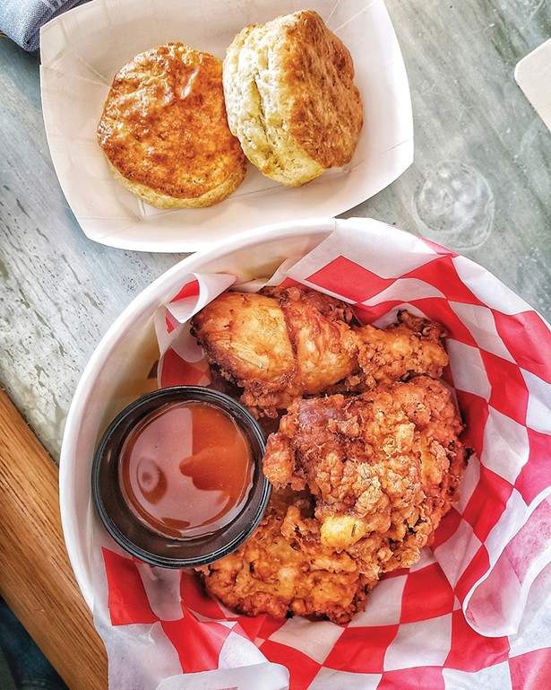 Fried chicken and biscuits from Mama Roux in Newburgh.
