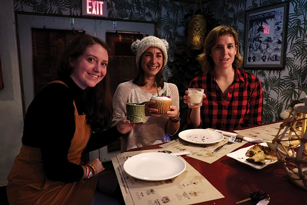 From left: Jenny Hayward, Caitlin Nagel, and Maggie Wynn at Fuchsia Tiki Bar in New Paltz. - PHOTO: ROY GUMPEL