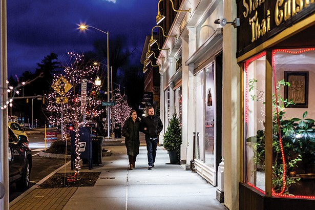 A Christmas scene straight out of a Norman Rockwell painting on Main Street in Great Barrington. - PHOTO: ANNA SIROTA