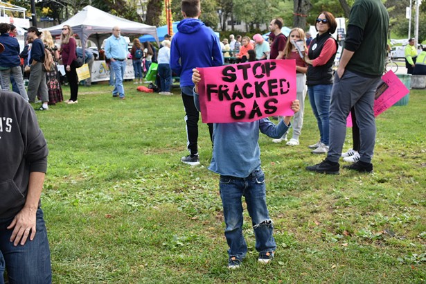 A child holds a sign at the November 2019 rally against Cricket Valley. - PHOTO: CORDELIA SCHILLER