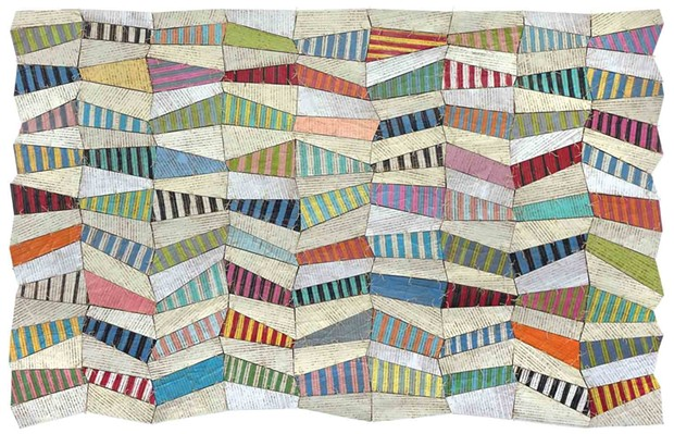 """Susan Stover, Undulations 2, 2020 46"""" X 72"""" cardboard, latex and acrylic paint with varnished and waxed linen thread"""