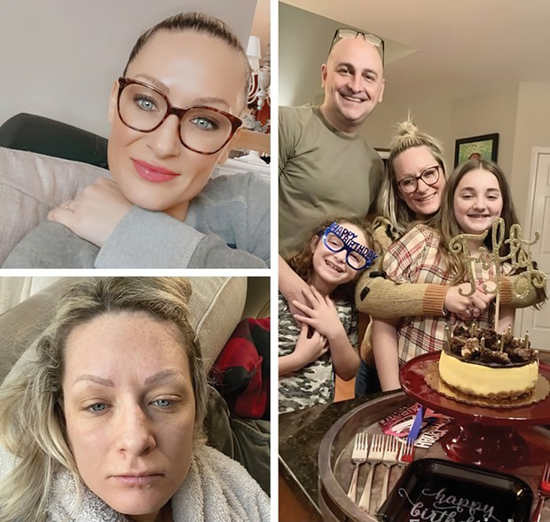 Top left: Ashley Pugliese after contracting COVID in February 2020. Below and right: Pugliese alone and with her family, February 2021.