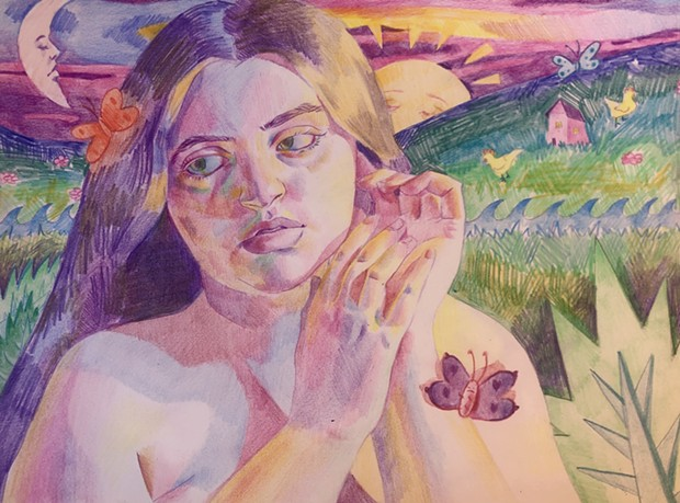 """Summer, 2021, 9""""x12"""", colored pencil on paper"""