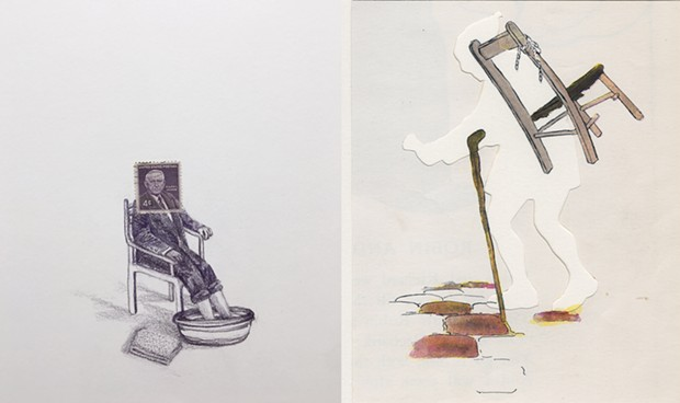 Left: Andrea Moreau, USA (Footbath), 2019, Colored pencil and postage stamp on paper, 11 x 11 inches  Right: Deborah Davidovits, Chair and Cane, 2016, Book page, paper, watercolor, 8 x 10 inches