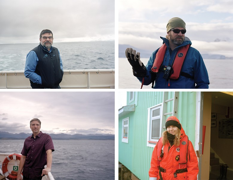 clockwise from top left: Jonathan Chester, historian and polar guide; Ari Friedlaender, lead whale scientist; Clare Dudeney, ship's artist-in-residence; Brandon Southall, senior scientist. - PHOTO BY MADELINE COTTINGHAM