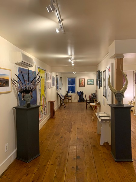 Part of the inside of Art JuXtapose Gallery in Rosendale, New York. - ART JUXTAPOSE GALLERY
