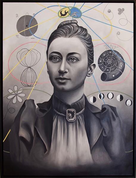 "A portrait of Swedish painter Hilma Af Klint by Helena Zay, oil on canvas, 36""x48"""