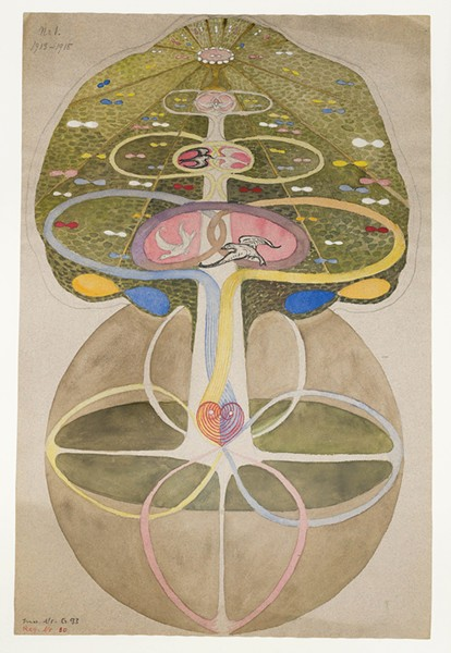 """One of Hilma af Klint's paintings in the """"Tree of Knowledge"""" series at Lightforms Art Center in Hudson through August 9."""