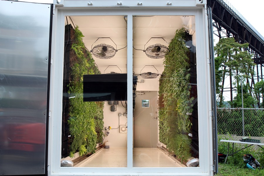 Farmers & Chef's shipping container vertical garden - ABBY FOSTER
