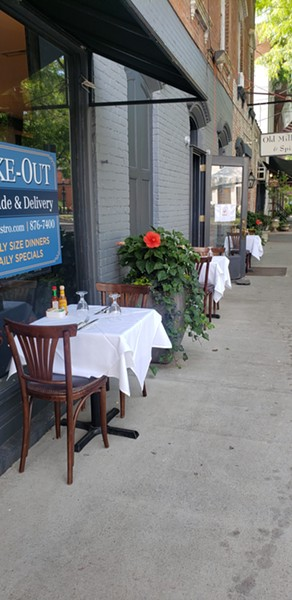 Socially distanced tables on the sidewalk in Rhinebeck.