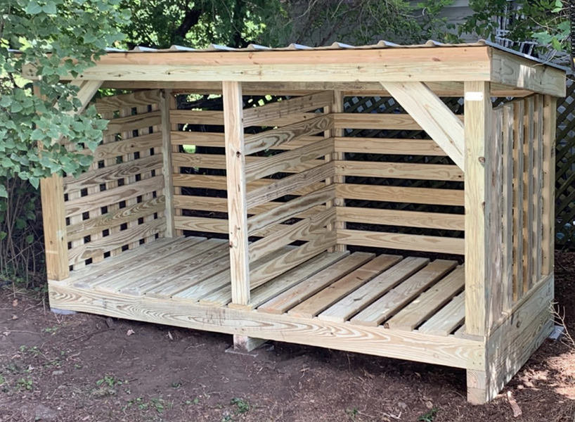 A firewood shed designed and built by Glenn's Sheds