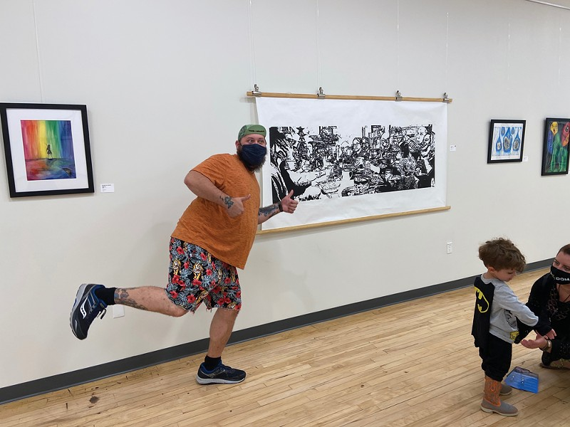 """Justin Windman-Kerr with his piece Tryptophan, - part of """"We're All Human"""" on view at CCAC - through November 30."""