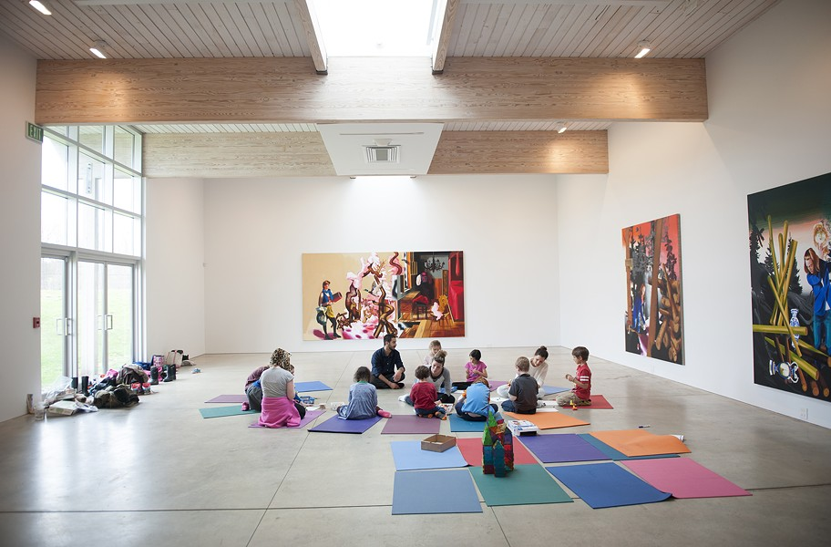 Children in the Saturday Workshop explore art-making in the Newmark Gallery at the Charles B. Benenson Visitors Center, surrounded by the work of Susanne Kühn - HILLARY HARVEY