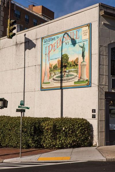 A vintage postcard sign celebrating the city's Depew Park. - PAMELA PASCO