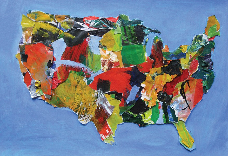 """U.S.A (No.74), Michael Crawford, acrylic on torn palette paper on paper, 22""""x 30"""", 2012"""