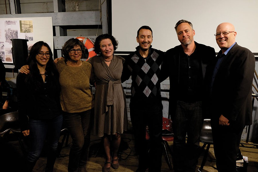 The panelists at the October 12 Conversation: - Rebecca Rojer, Lynn Woods, Jennifer Schwartz-Berky, Michael Muyot, Brian K. Mahoney, and Guy Kempe (Gloria Waslyn).