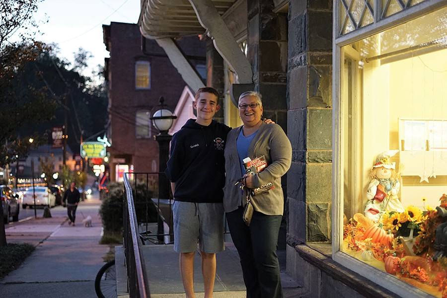 Daniel and Jo Ann Goswick in front of Grinnell Library in Wappingers Falls.