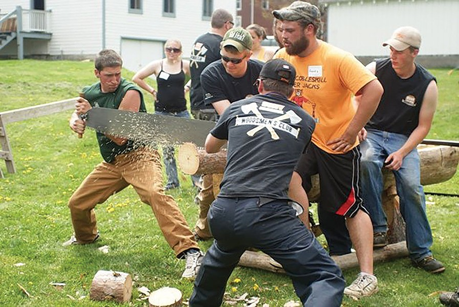 The SUNY Cobleskill Woodsmen's Club at the Hanford Mills Museum's Lumberjack Festival. Photo: Hanford Mills Museum.
