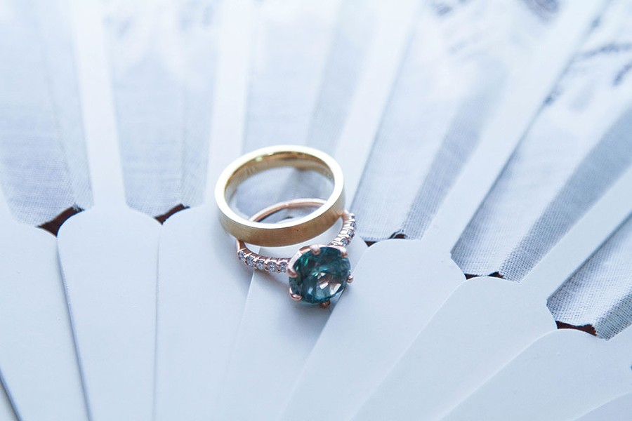 Custom rings designed by Hudson Valley Goldsmith.