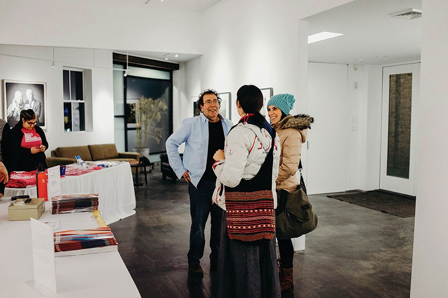 Aaron Rezny welcoming attendees to his studio. - ANNA VICTORIA