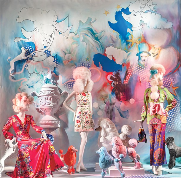 Elliott De Cesare's window installations are currently on display at Bergdorf Goodman.