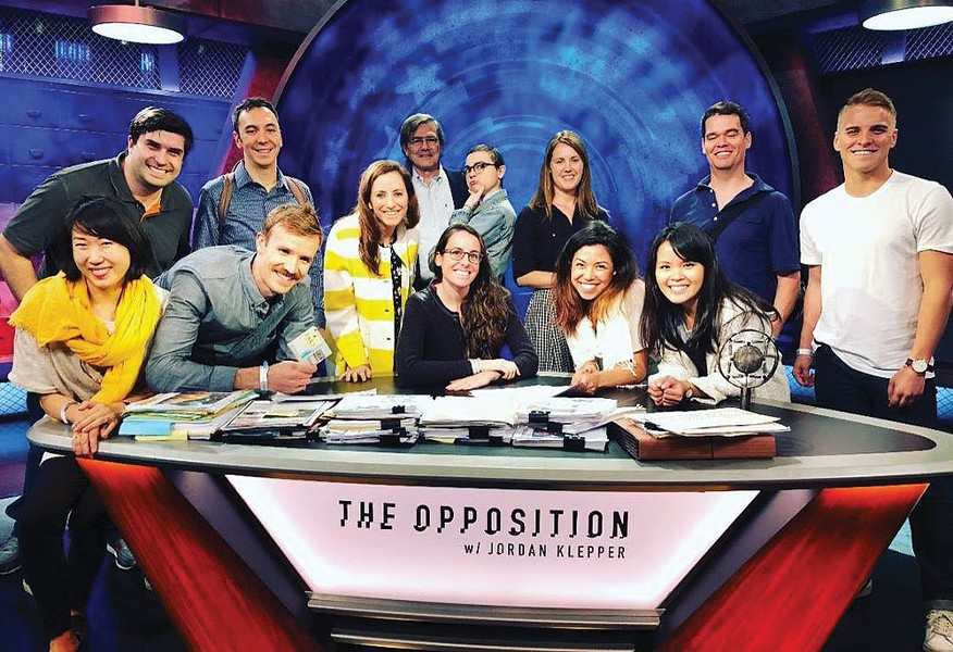"The Dandelion team on the set of ""The Opposition with Jordan Klepper"""
