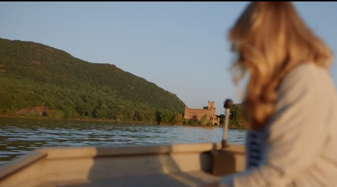 A still from a recent Chase Sapphire ad, starring Jillian Fisher and Bannerman Castle.