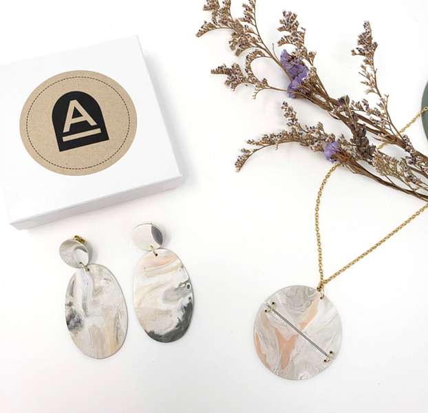 Polymer jewelry by Alcove Craft
