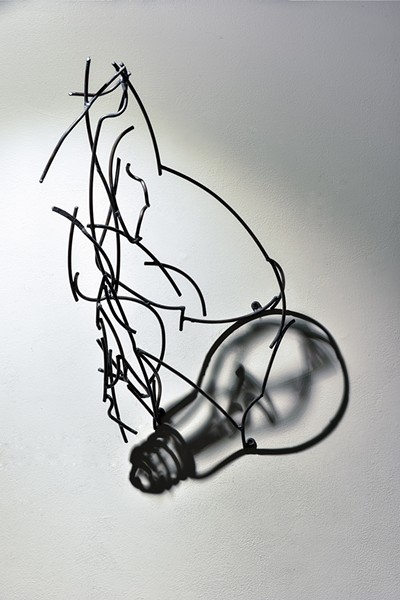 Light Bulb, Larry Kagan, light and steel wire, 2013. - PHOTOGRAPH BY GARY GOLD.