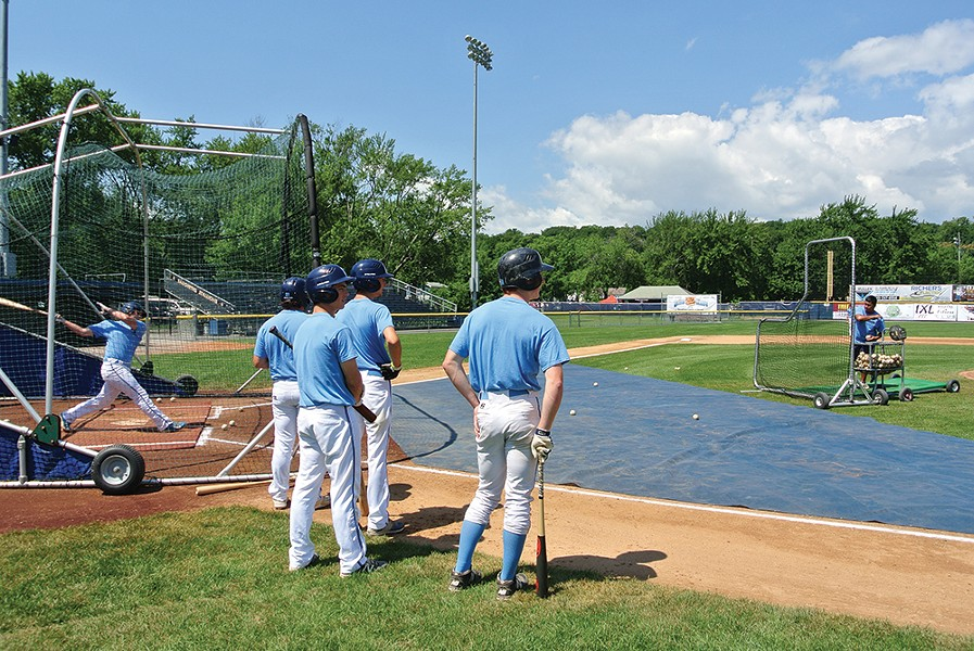 The Saugerties American Legion Post 72 baseball team  taking batting practice at Cantine Memorial Complex. - PHOTO BY JOHN GARAY