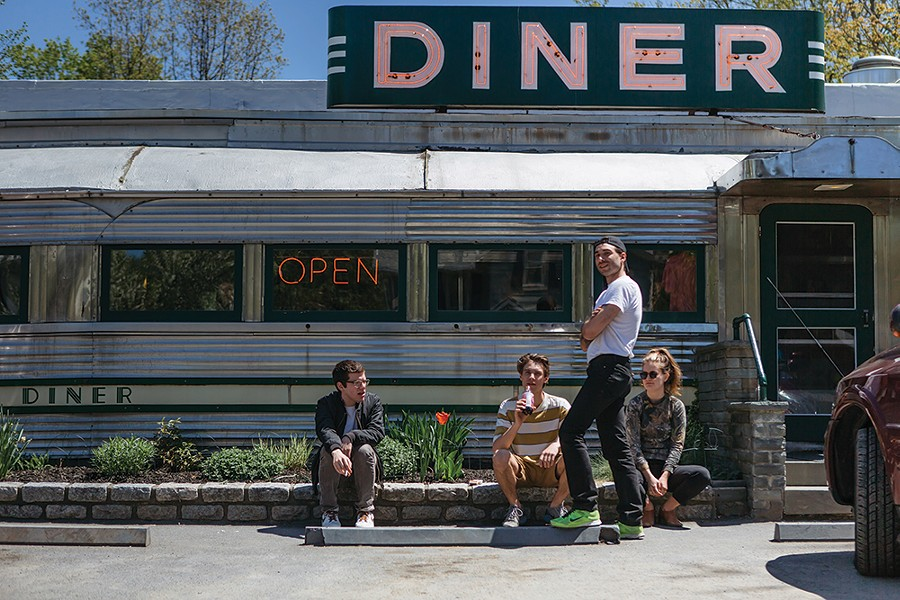 Patrons outside the Historic Village Diner in Red Hook. - PHOTO: TOM EBERHARDT-SMITH