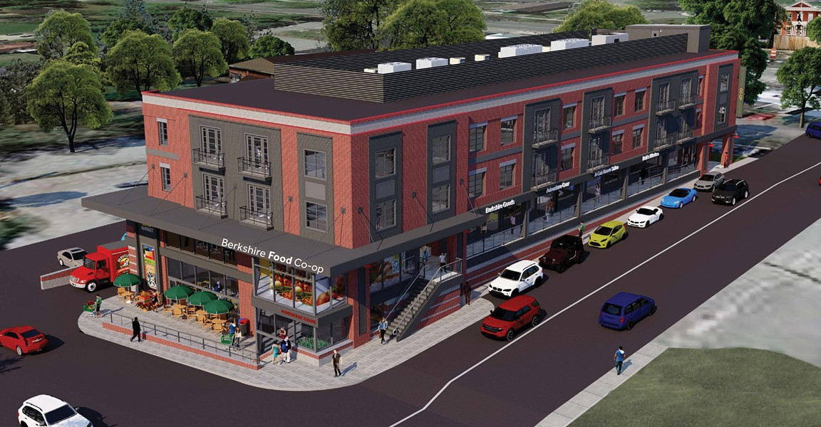 An artists' rendering of the new mixed-use building in downtown Great Barrington.
