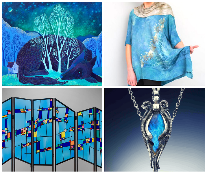 Clockwise from top left: Elaine Thompson Art, Heather Reid, Judith Hearney Jewelry, Glass Art of Brooklyn.